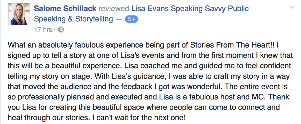 Lisa Evans speaking-savvy-testimonial