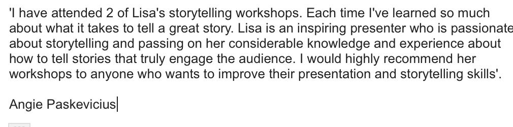 Lisa Evans-Speaking-Savvy-Testimonial-Angie-P-storytelling