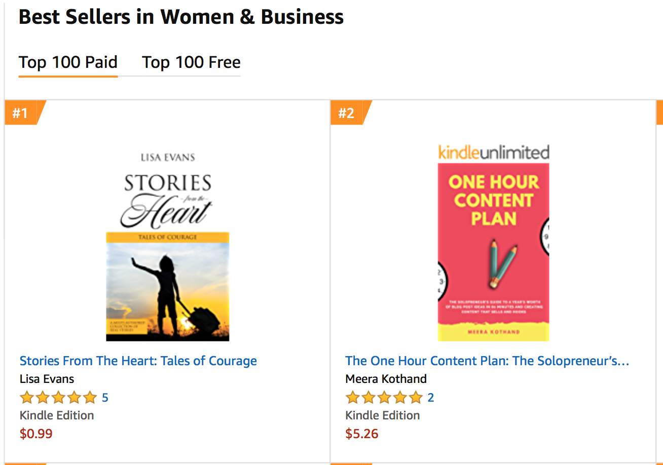 amazon bestseller stories from the heart women in business