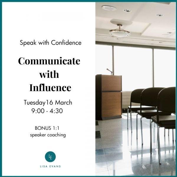 Public speaking workshop 16 March